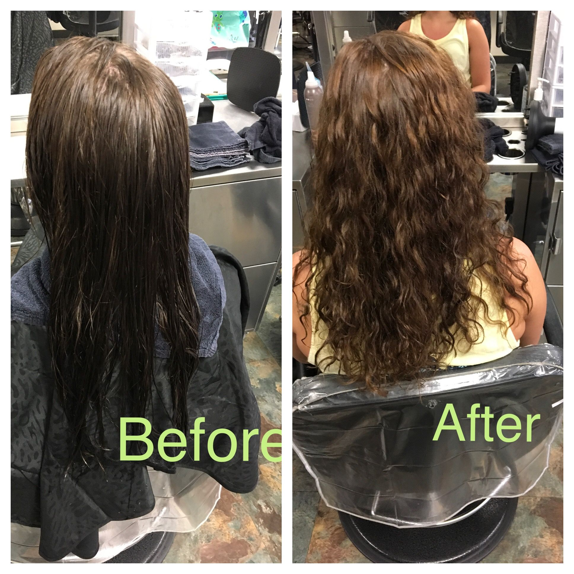 First Client Perm Using Green And Blue Bendy Rods And Extra Body Solution Firstperm Perm Beachywaves Hair Hair Styles Hair Perm