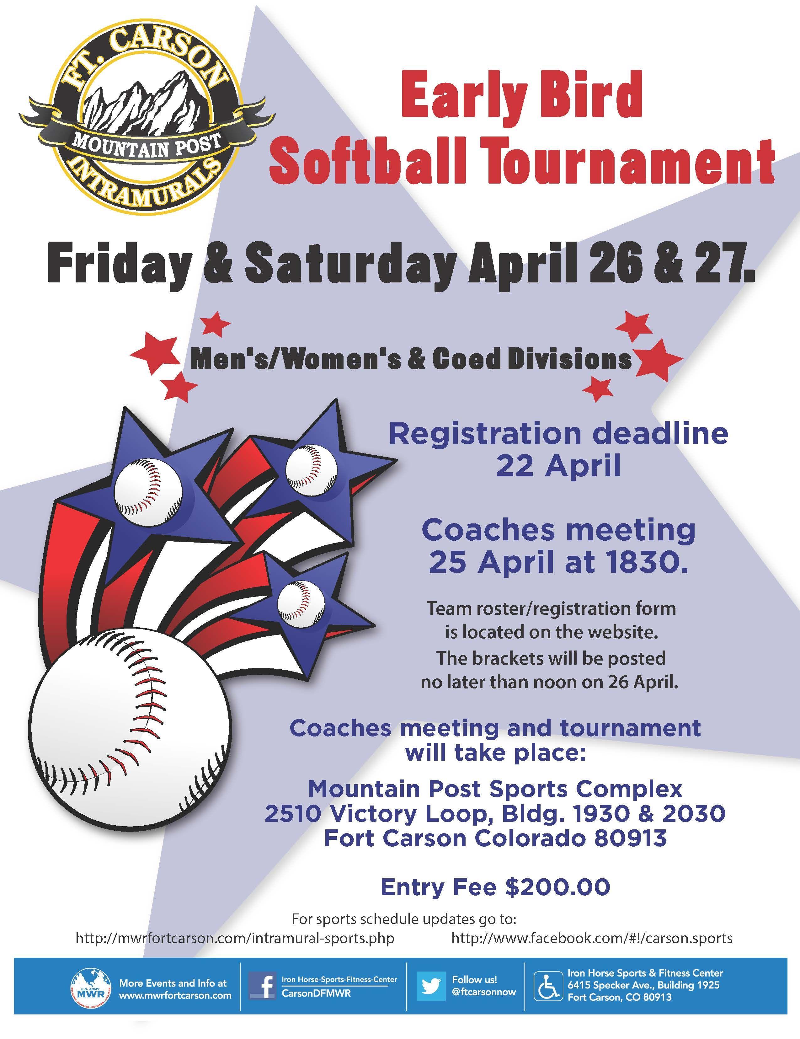 Early Bird Softball Tournament Fort Carson Softball Tournaments Tournaments Softball