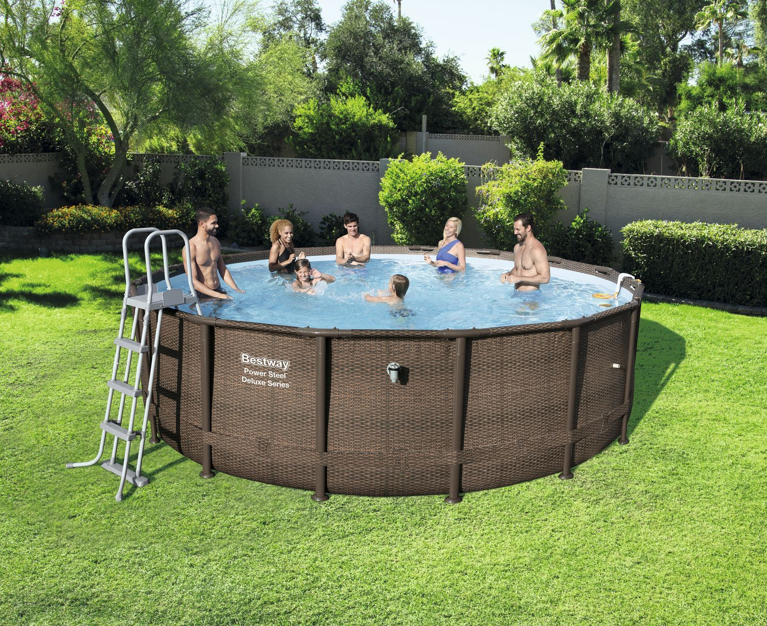 Pool Garten Zubehör Power Steel Deluxe Series Pool Set Ø488x122cm Stahlrahmenpool Set