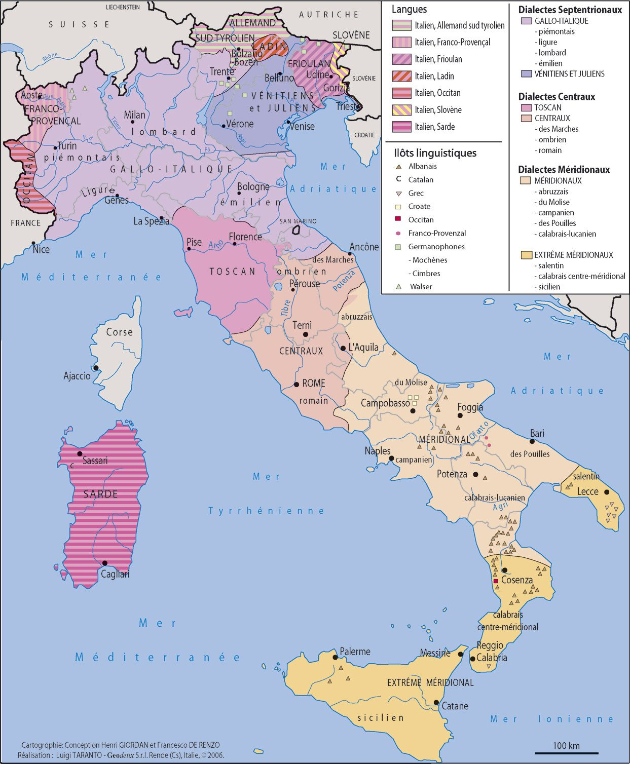 Language And Dialects In Italy By Region Carte Italie Italie