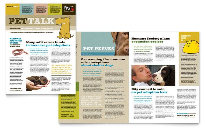 animal shelter and pet adoption newsletter design template by
