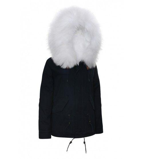 Navy Parka White Fur