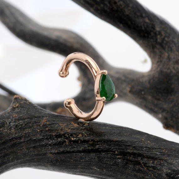 Photo of Ear Cuff Non Pierced 14K Solid Gold Pear Emerald  – Ear Jacket – Helix Hoop Earring – Cartilage Earring – Conch earring – Dainty Jewelry