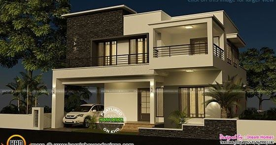 Floor plan and elevation of 4 bedroom modern flat roof house by dream homes tamilnadu india