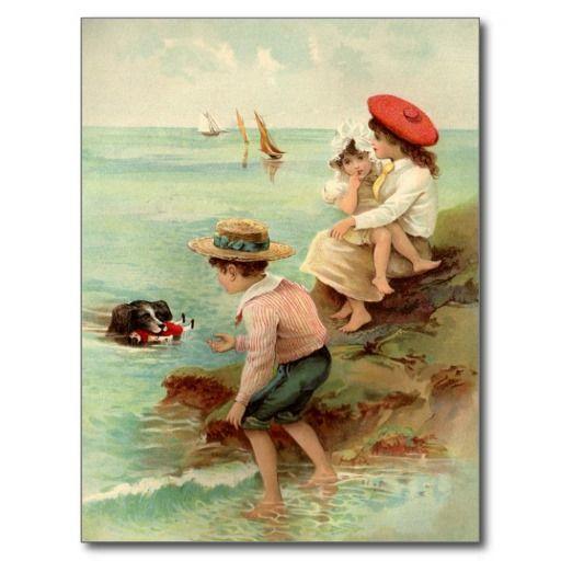 Vintage Kinderen bij het Briefkaart van het Strand Wens Kaart