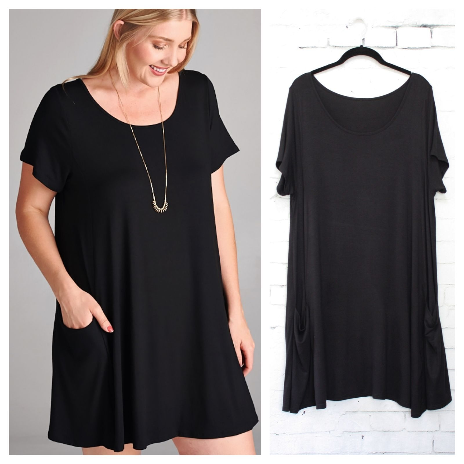 Black Dress Has Short Sleeves And Front Side Pockets Loose And Comfortable Soft Jersey Fabric Measure Black Short Sleeve Dress Short Sleeve Dresses Dresses [ 1600 x 1600 Pixel ]