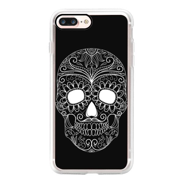 Skull black - iPhone 7 Case, iPhone 7 Plus Case, iPhone 7 Cover,... ($40) ❤ liked on Polyvore featuring accessories, tech accessories, iphone case, iphone cover case, iphone cases, slim iphone case and apple iphone case