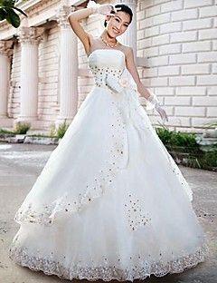 Vestido de Noiva Trapézio Sem Alças Comprido ( Cetim/Tule ) – USD $ 89.99