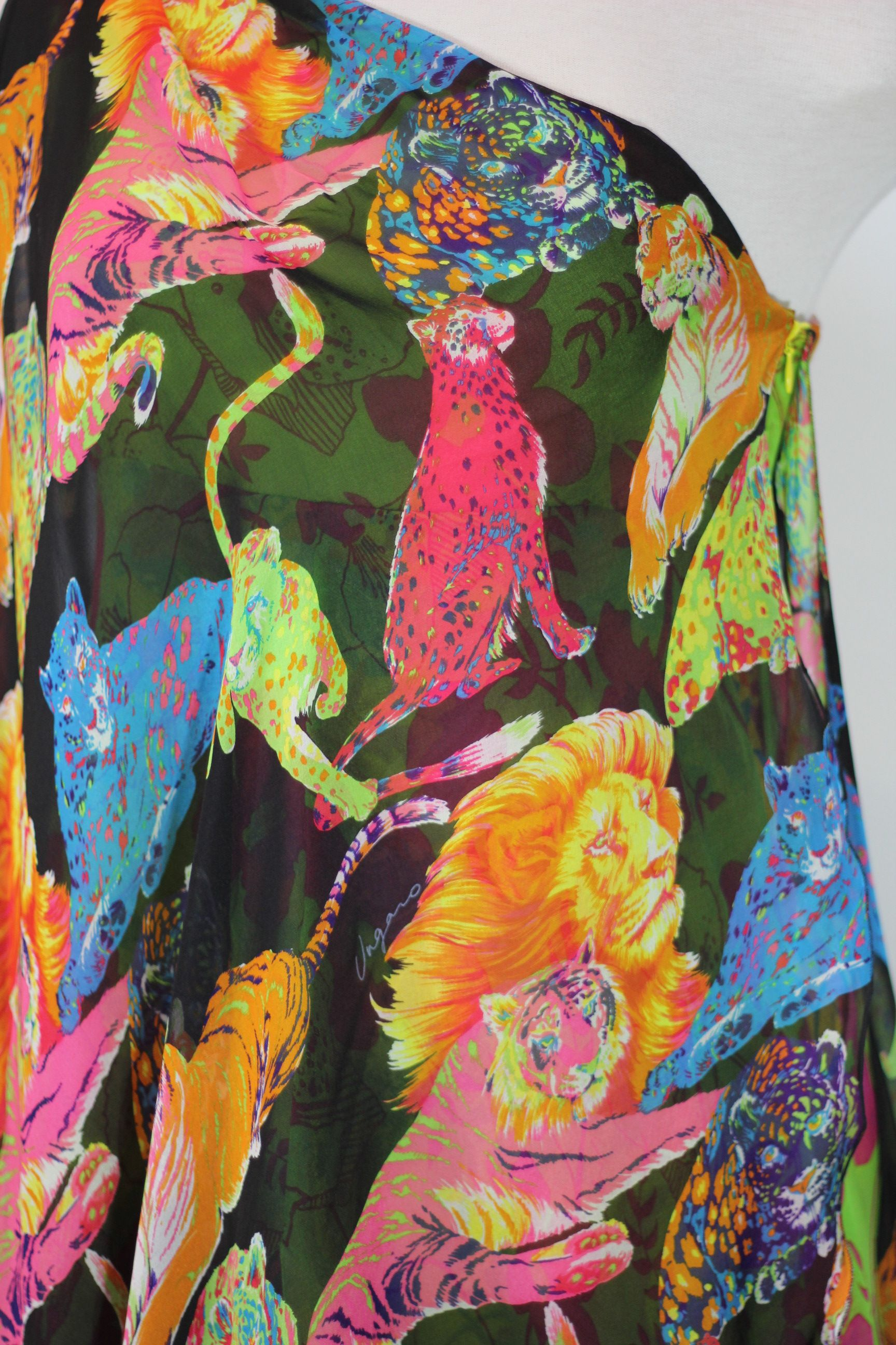 Emanuel Ungaro Multi Animal Print Silk Dress