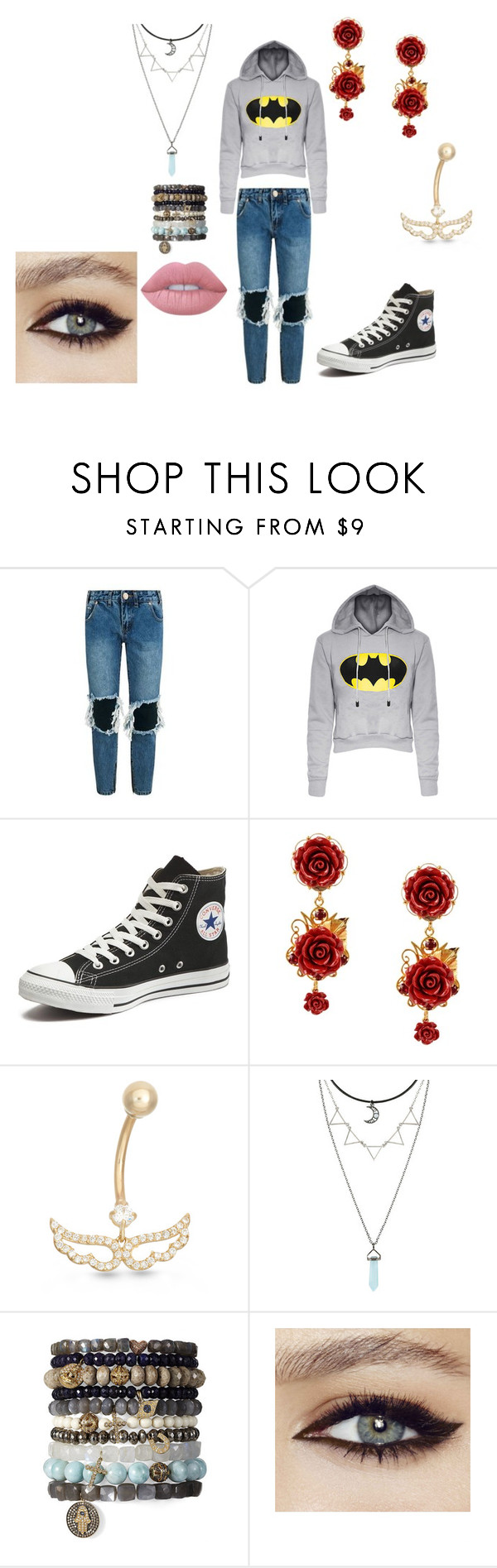 """Everyday outfit #28"" by in-seva on Polyvore featuring One Teaspoon, Converse, Dolce&Gabbana, Gioelli Designs and Lime Crime"