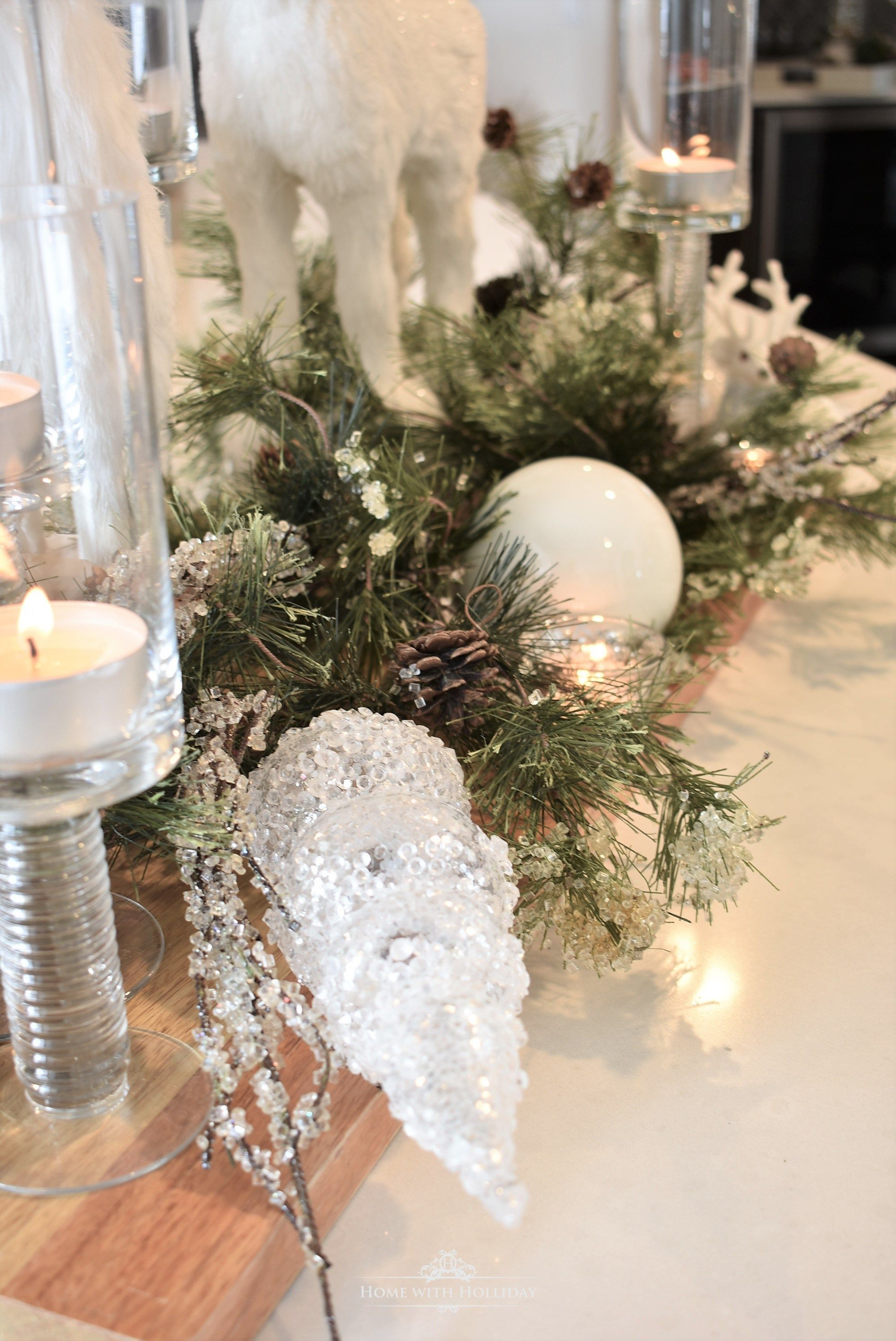 Winter White Christmas Centerpiece Elegant Christmas