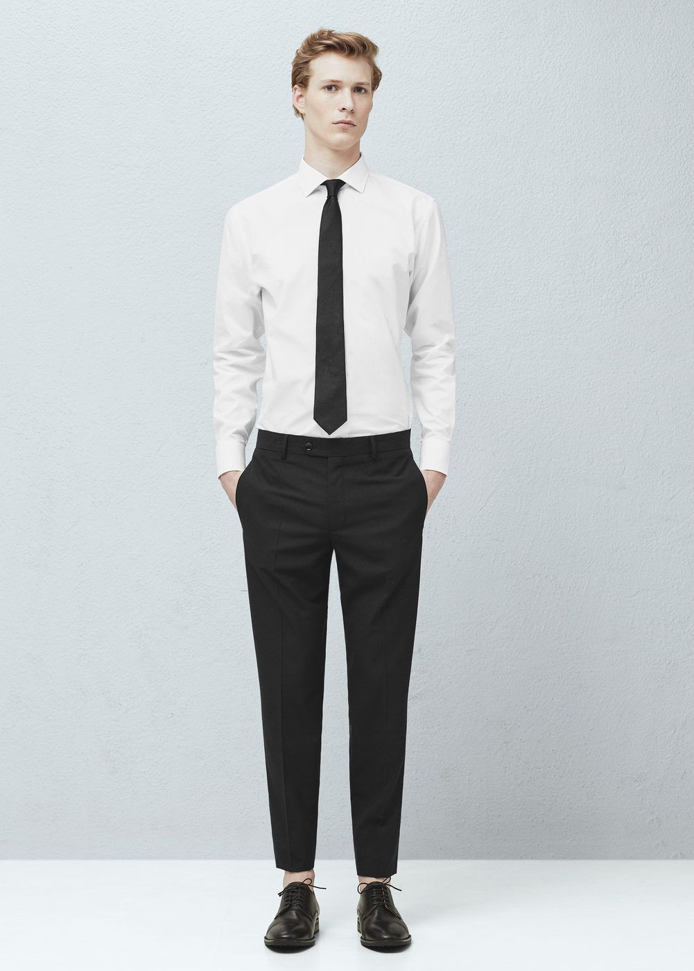 Pantalon de costume slim-fit à petits carreaux - Homme | MANGO