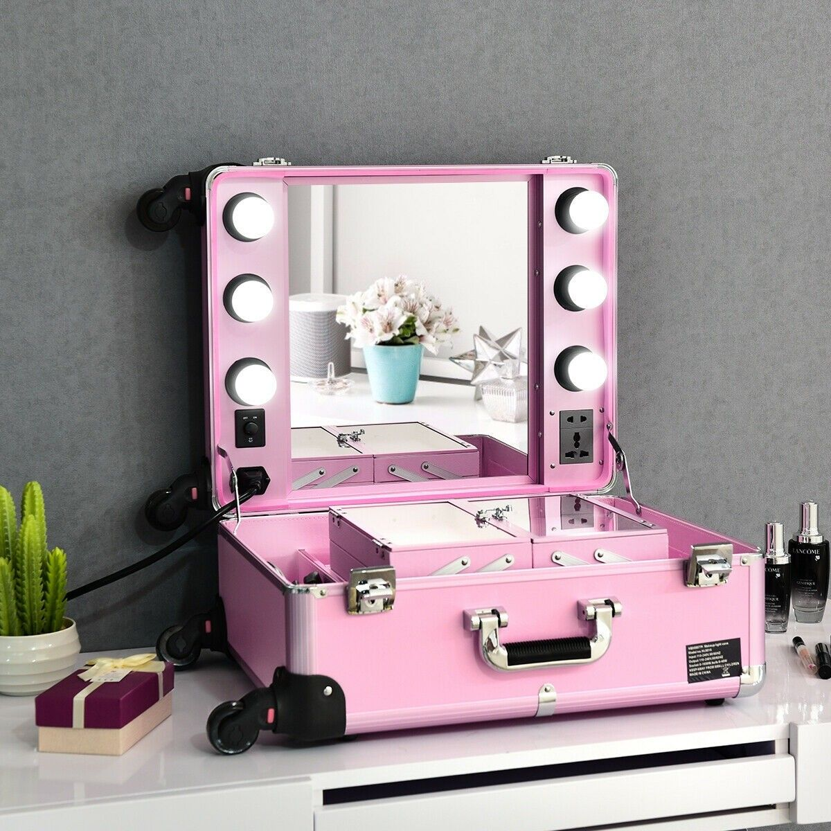 Rolling Makeup Case w Lights Mirror Cosmetic Aritist