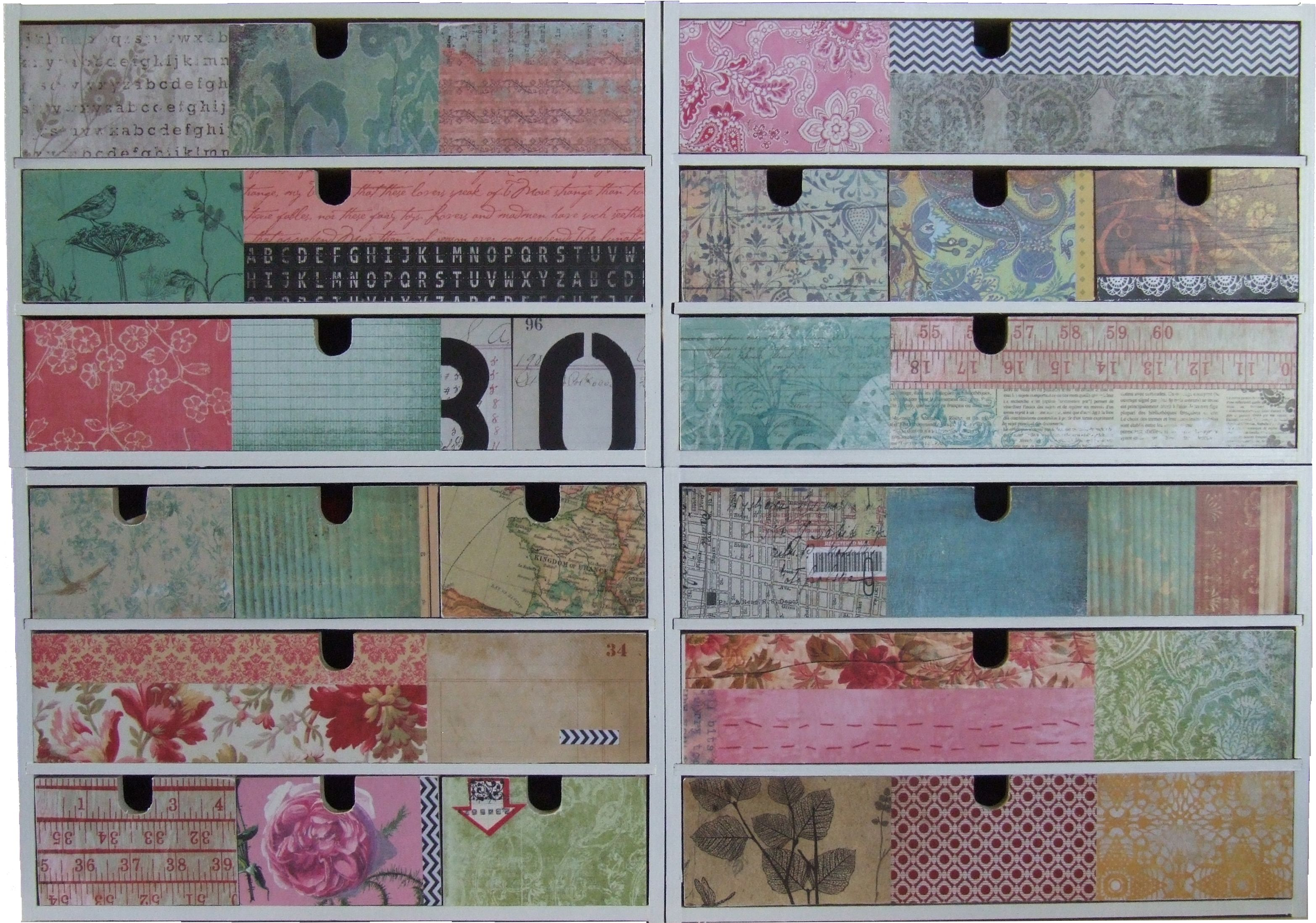 personalise IKEA storage drawers with scrapbooking paper ...
