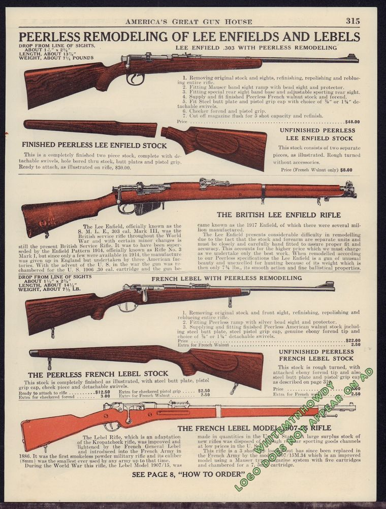 1944 PEERLESS Remodeling Lee Enfield 303 S M L E  Mark III French