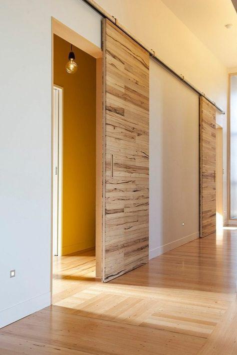 Porte Coulissante En Bois à Lintérieur Ambiance Intérieure Moderne - Porte intérieure coulissante