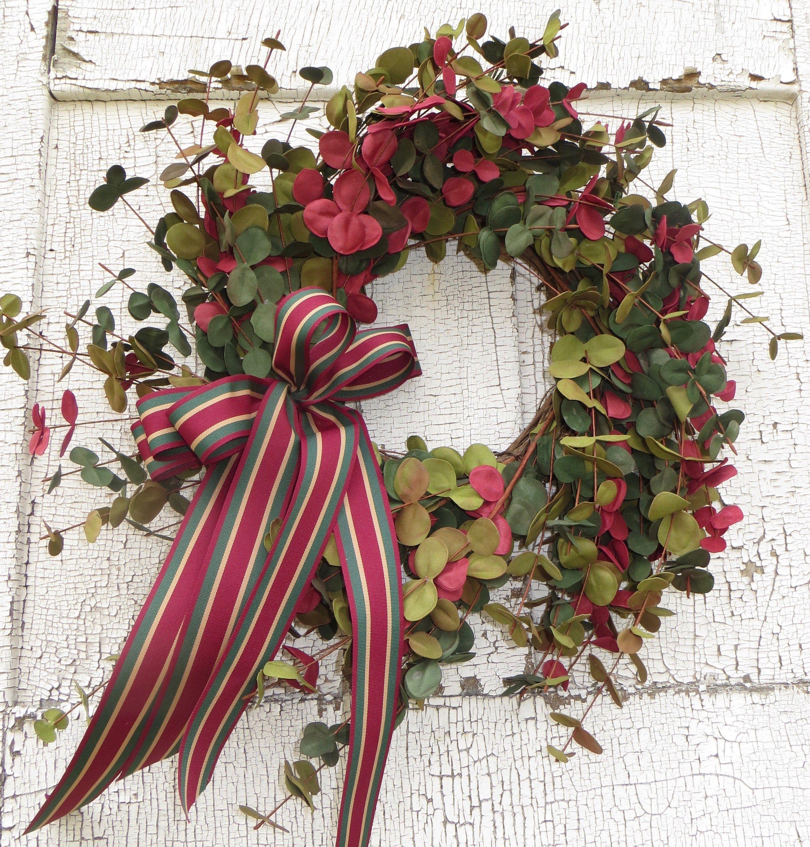 Photo of Faux Eucalyptus Wreath, Eucalyptus Wreath, Handmade Wreath, Handmade Faux Eucalyptus Wreath, Dried Flower Wreath, Wreath