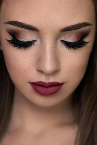 Red Lipstick Eye Makeup Light Skin Eyelashes