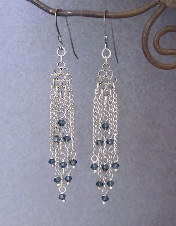 Upcycled Chandelier Earrings with sapphire blue crystals by JryenDesigns.etsy.com