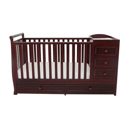 Afg Daphne 2 In 1 Convertible Crib And Changer Cherry Walmart Com Crib And Changing Table Combo Old Cribs Cribs