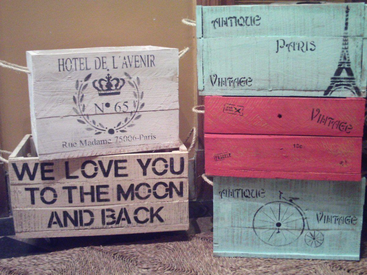 Caja cajon en madera reciclada estilo vintage patinada - Restaurar muebles vintage ...