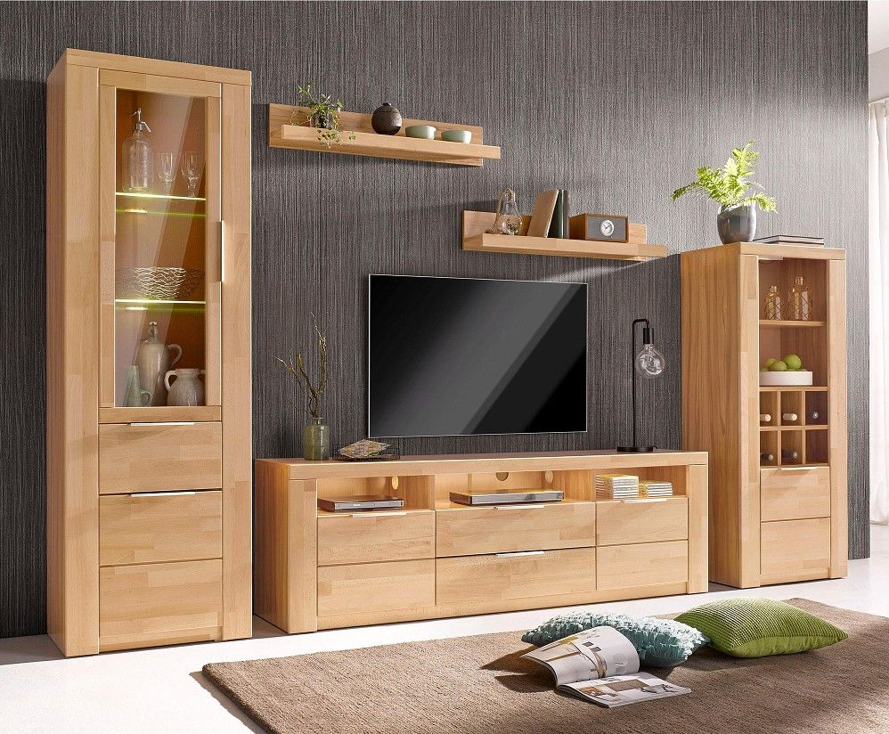 Meuble Tv Hetre Ensemble Vitrine Haute Meuble Tv Meuble Buffet Le Lot De 2