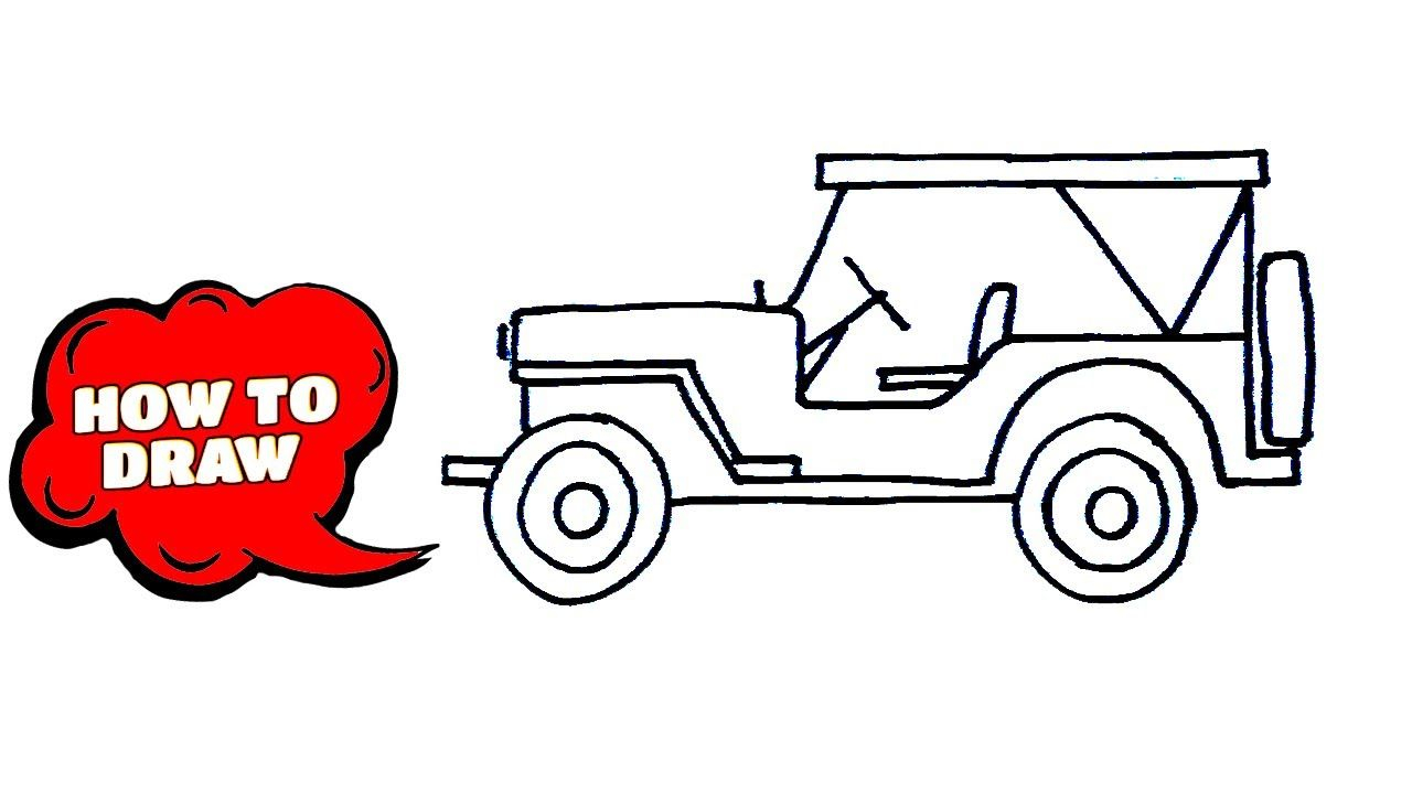 How To Draw A Jeep Drawing Side View Step By Step In 2020 Jeep