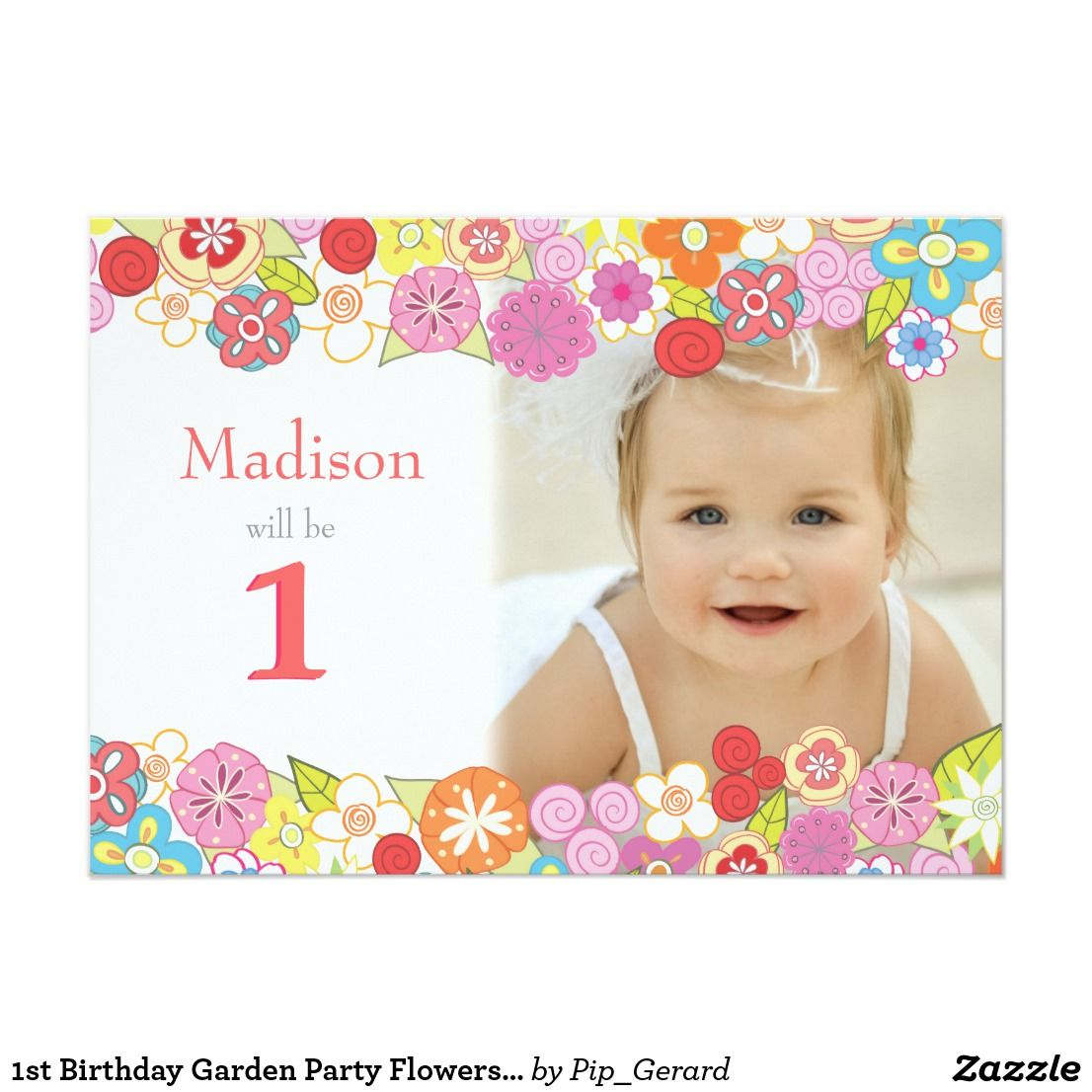 1st Birthday Garden Party Flowers Photo Invitation The Fabulous Photography used in this Modern full bleed save the date Photo Template (with permission) is ...