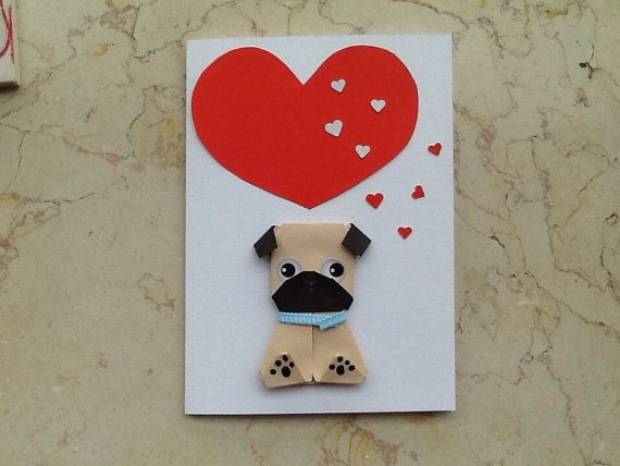 Origami pug birthday card handmade dog card for girlfriend dog items similar to origami pug birthday card handmade dog card for girlfriend dog lovers pug card on etsy bookmarktalkfo Choice Image