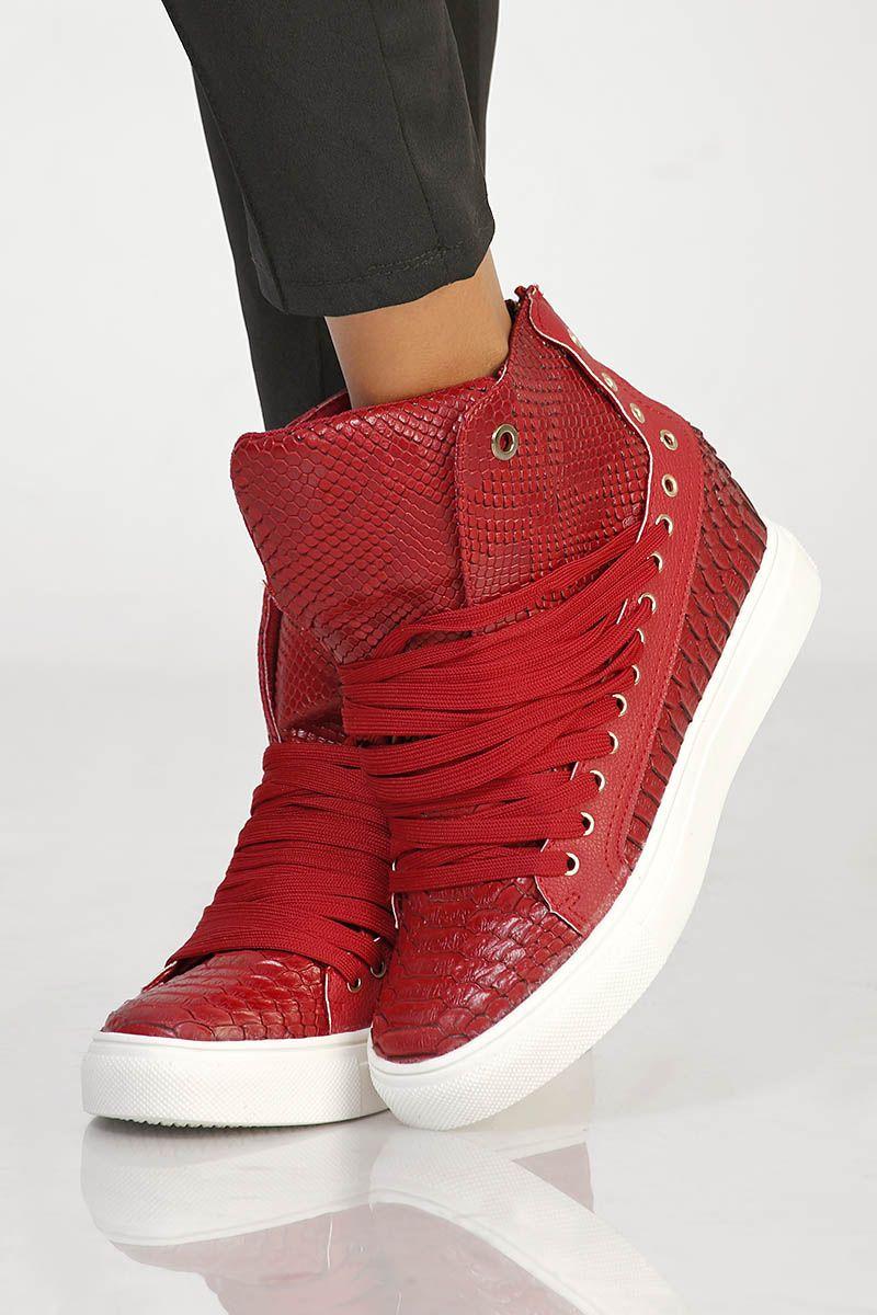 db0531a25286ea Baskets compensées rouge pas cher et sexy | À acheter | Baskets à ...