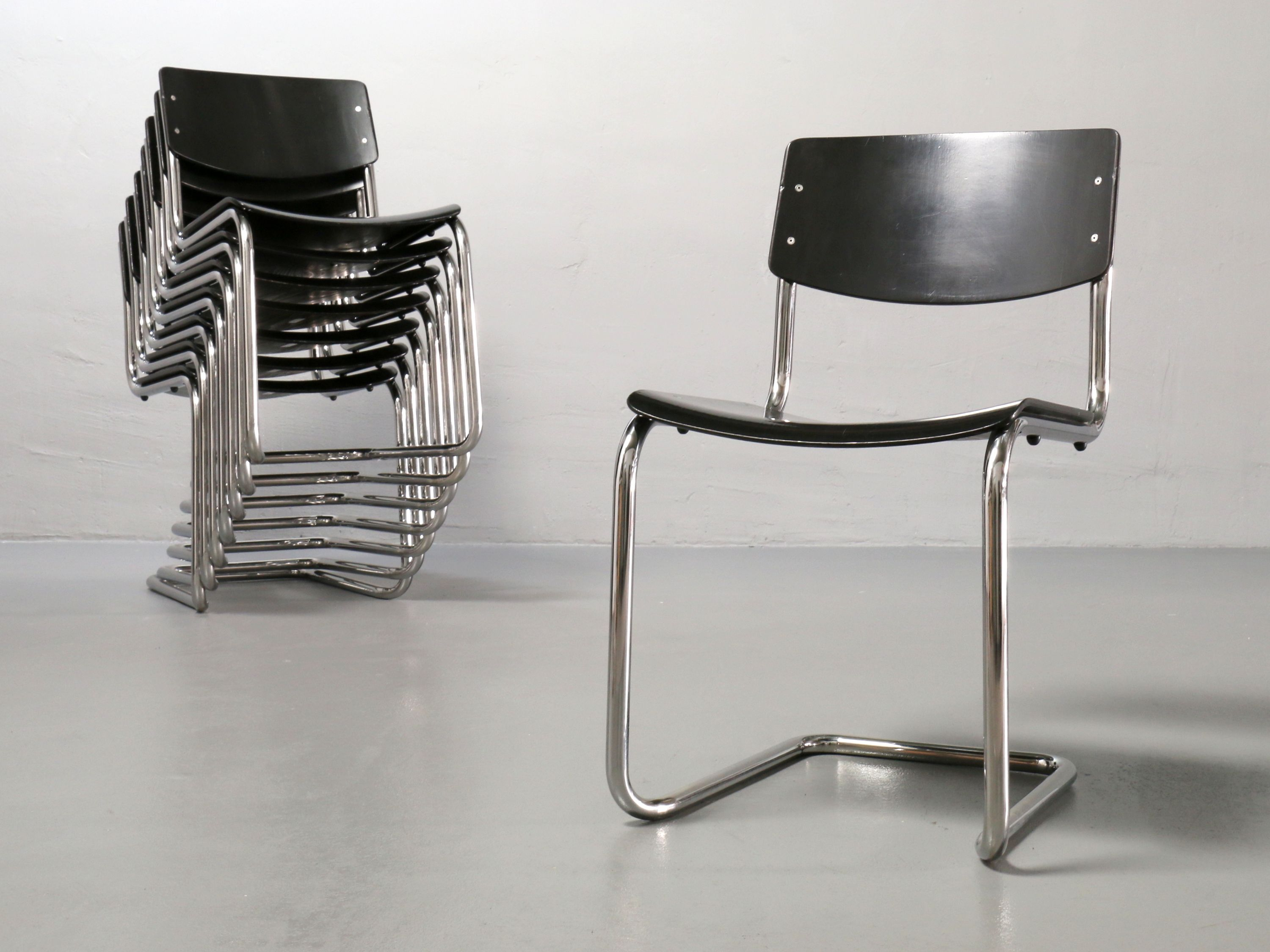 Thonet Stoel S43 : Thonet s stacking chairs by mart stam sold bauhaus