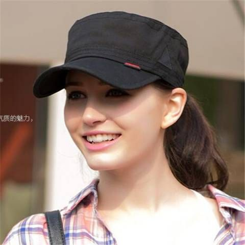 00e58c6ce06 Plain black military cap for women casual cadet hat outdoor wear ...