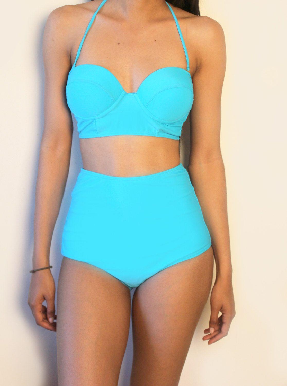 db6a87d7419ed Blue Vintage High waist swimsuit.  65.50