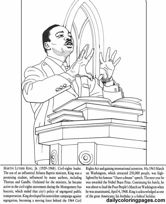 Coloring Pages For Martin Luther King Jr. martin luther king jr coloring pages  Martin Luther King Jr Day Holiday Coloring Pages