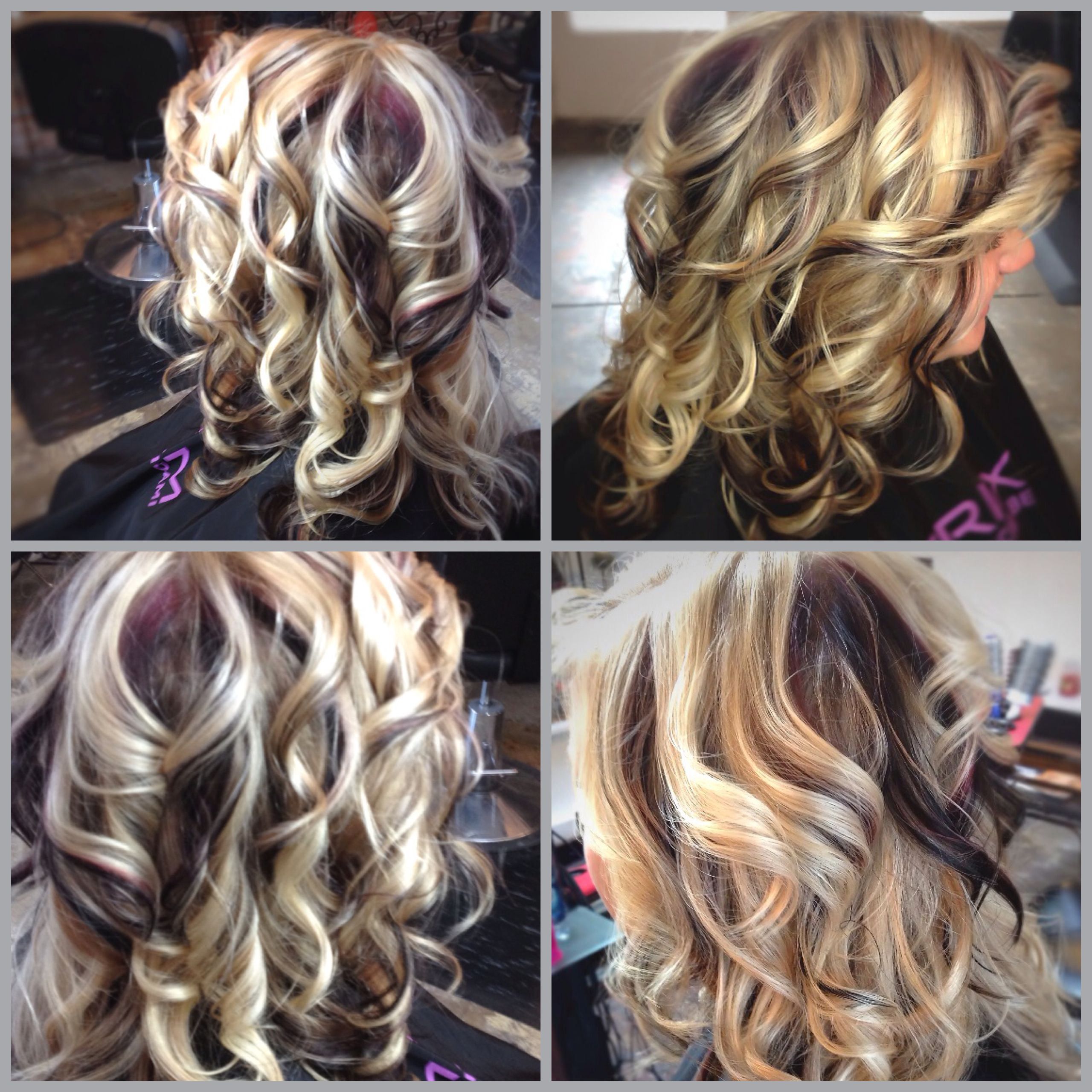 Lightest blonde with red violet and deep dark brown Hair colors