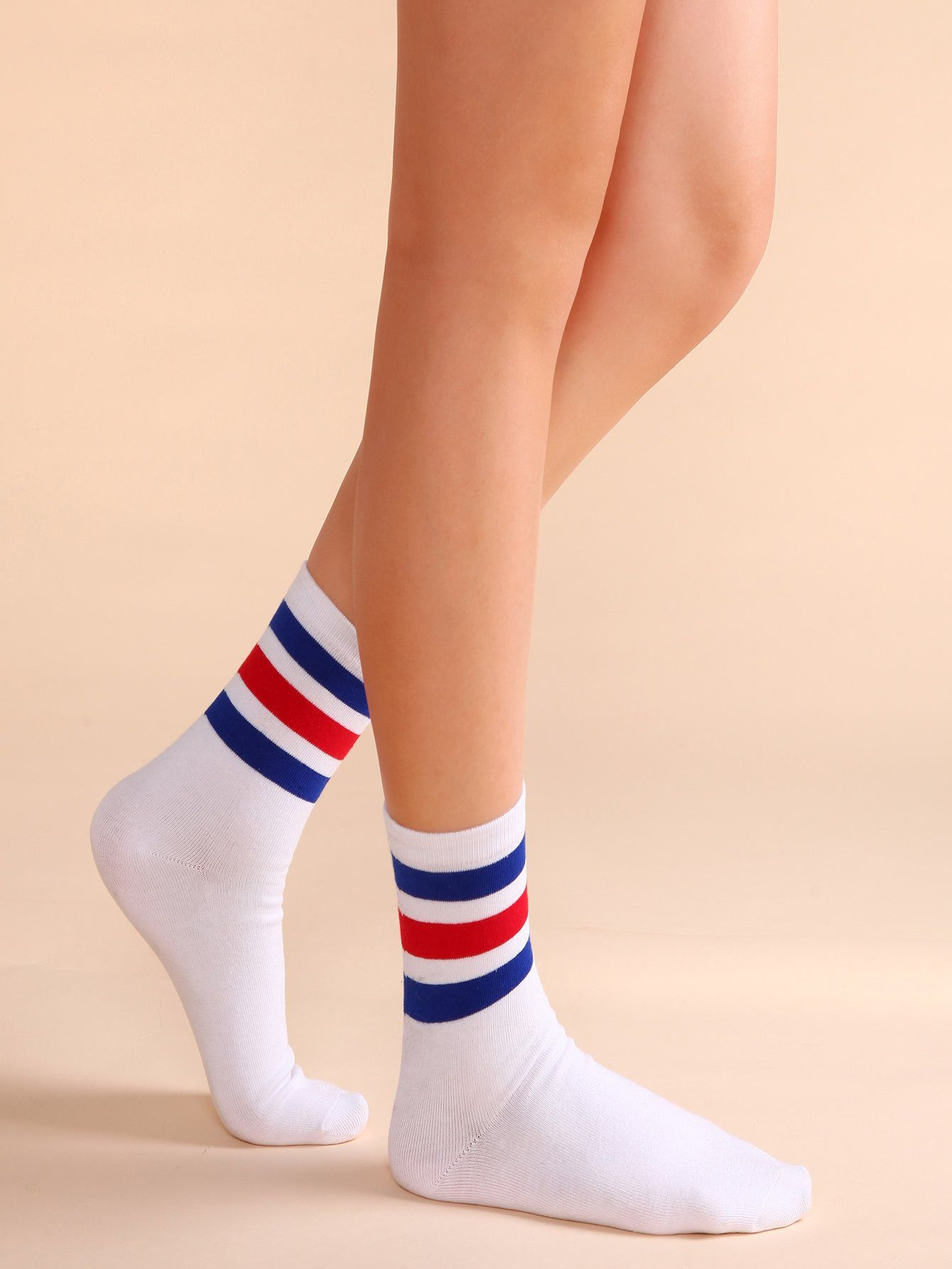 7f8ba0d8408a White Colored Stripe Trim Casual Crew Socks   jewlrey/cloтнeѕ/ѕнoeѕ ...