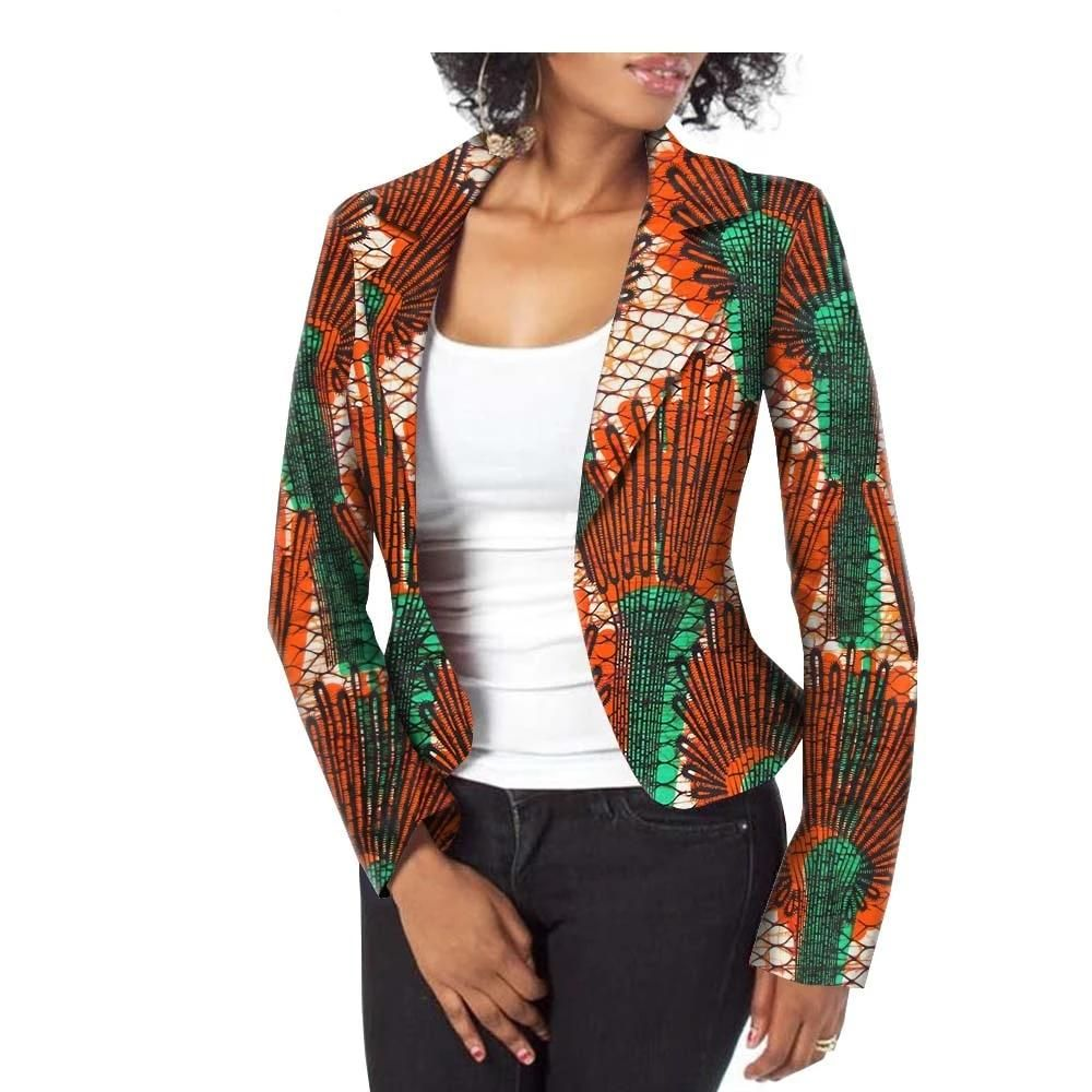 (1) Custom made Wax Cotton Women's African Blazer Suit