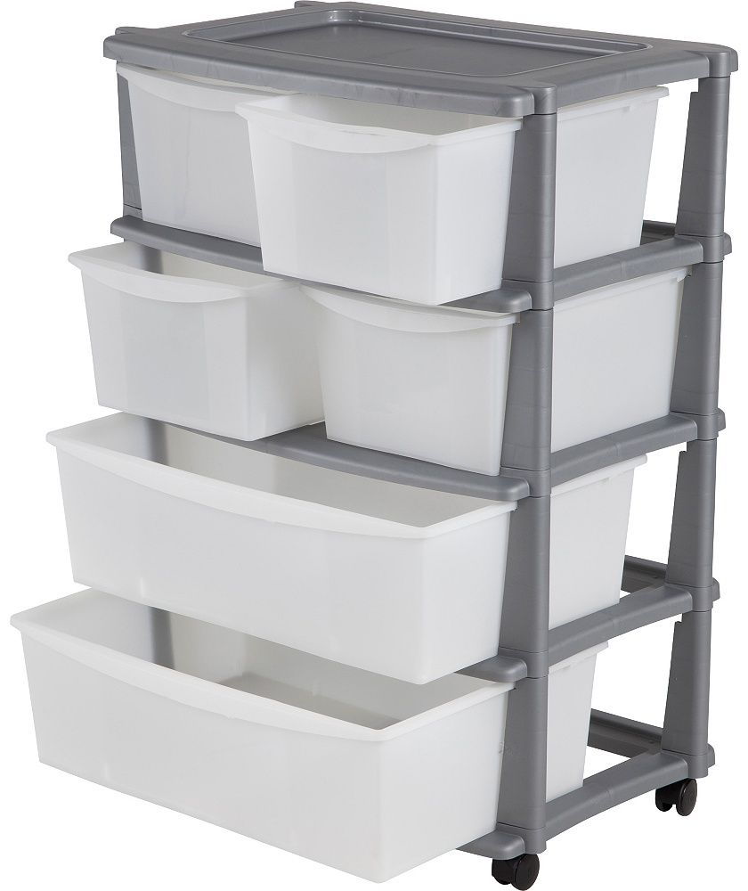 buy 6 drawer plastic wide storage tower unit silver at argoscouk