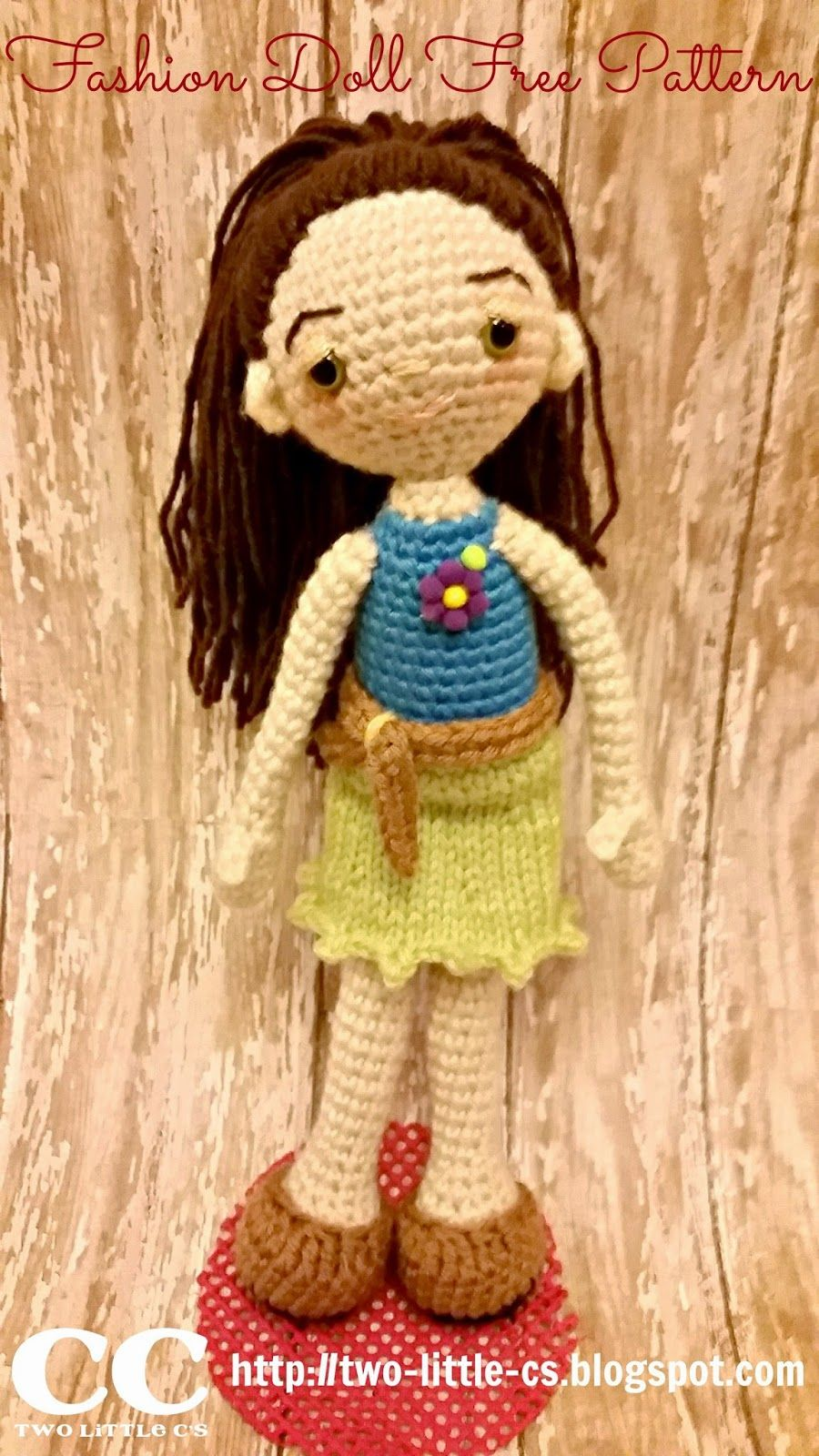 Fashion Doll - Free Amigurumi Crochet Pattern here: http://two ...