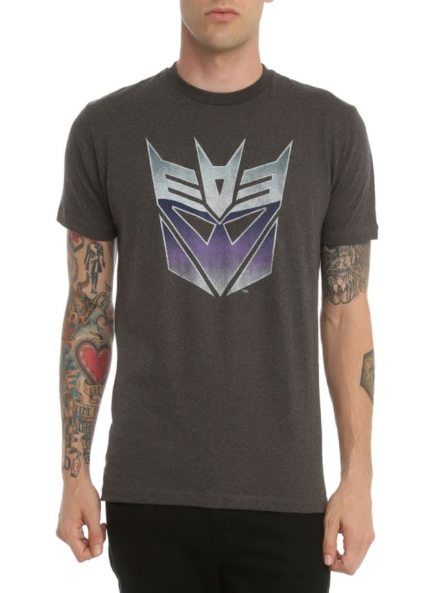Charcoal heather T-shirt from Transformers with a Decepticons logo design on front.