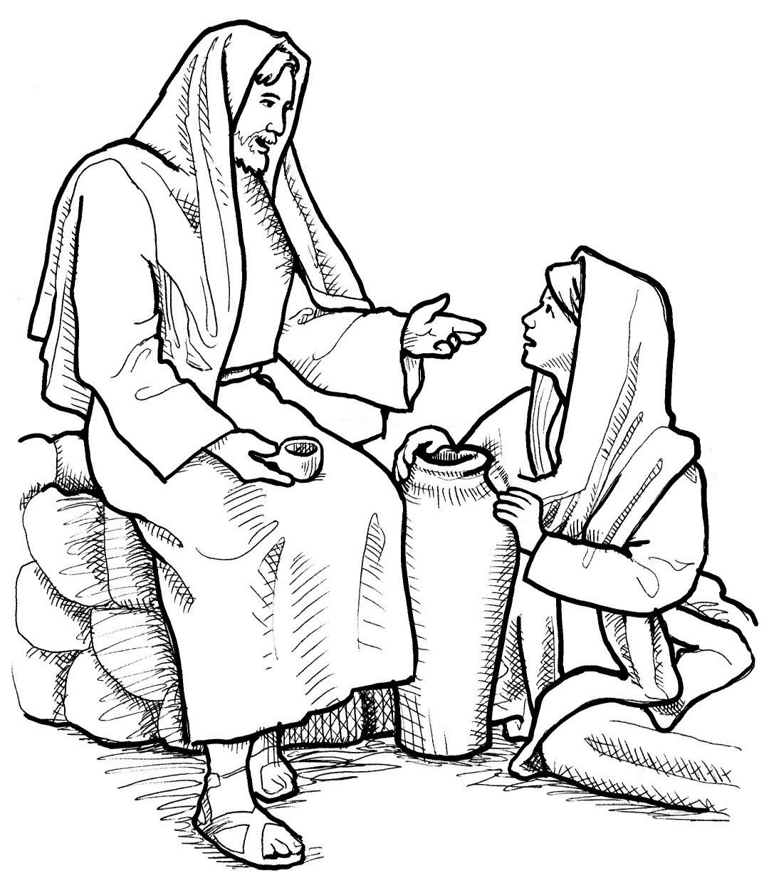 46+ Jesus and the samaritan woman coloring page free download