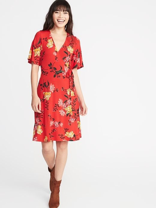 b999e4a9e53 Old Navy Women's Tie-Belt Faux-Wrap Jersey Dress Red Floral Big And Tall  Size XXL