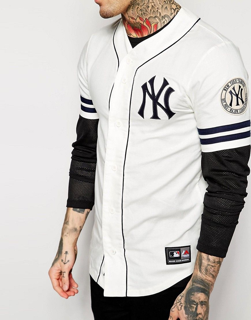 Image 3 of Majestic New York Yankees Retro Baseball Jersey in Twill ... a1ea9876a30