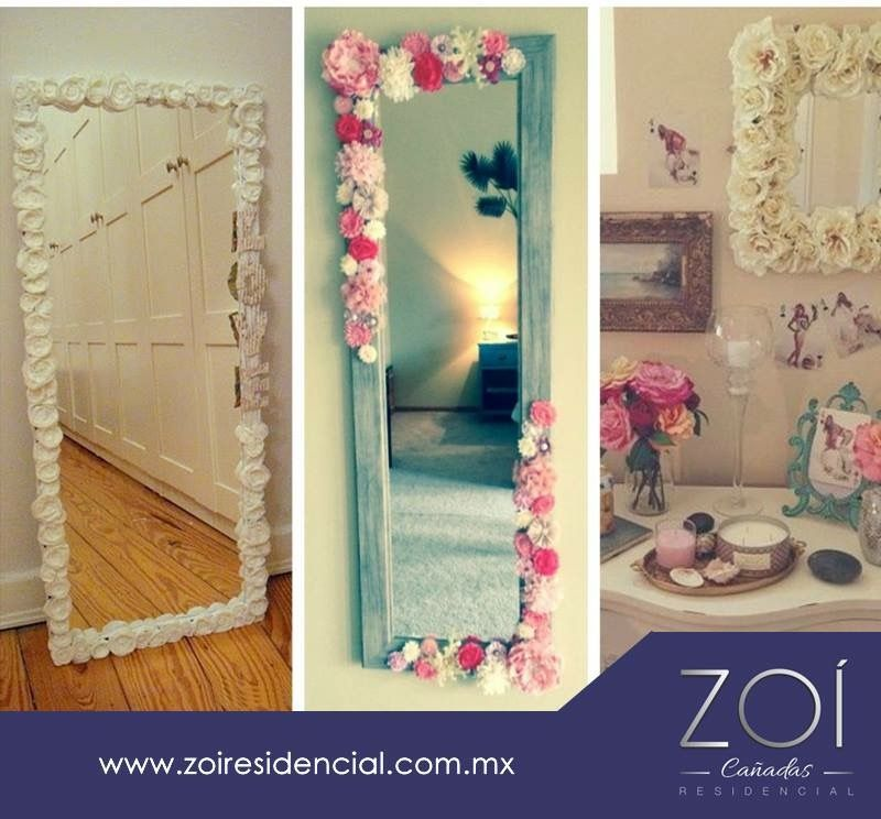 Espejos decorados home pinterest espejos decorados for Espejos con marco de madera decorados