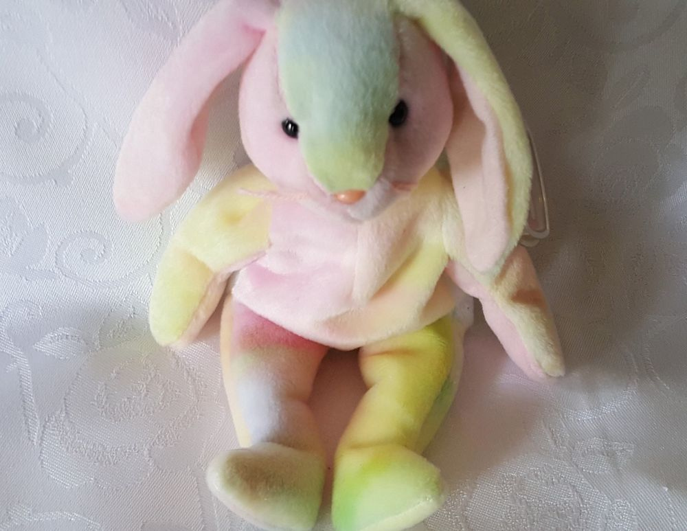 1a5496d5e30 Ty Beanie Baby HIPPIE the Tie-Dyed Bunny MWMT Retired Easter Error on Tag  Easter  Ty