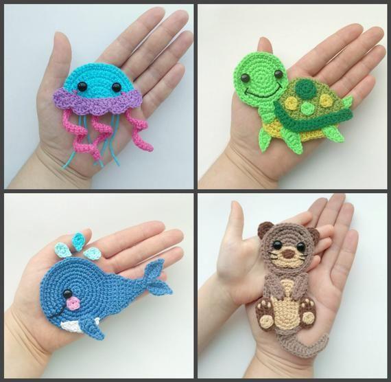 PATTERN Sea Creatures Applique Crochet Patterns PDF Otter Whale Jellyfish Turtle Crochet Appliques Sea Animals Baby Blanket Baby Gift ENG #crochetturtles