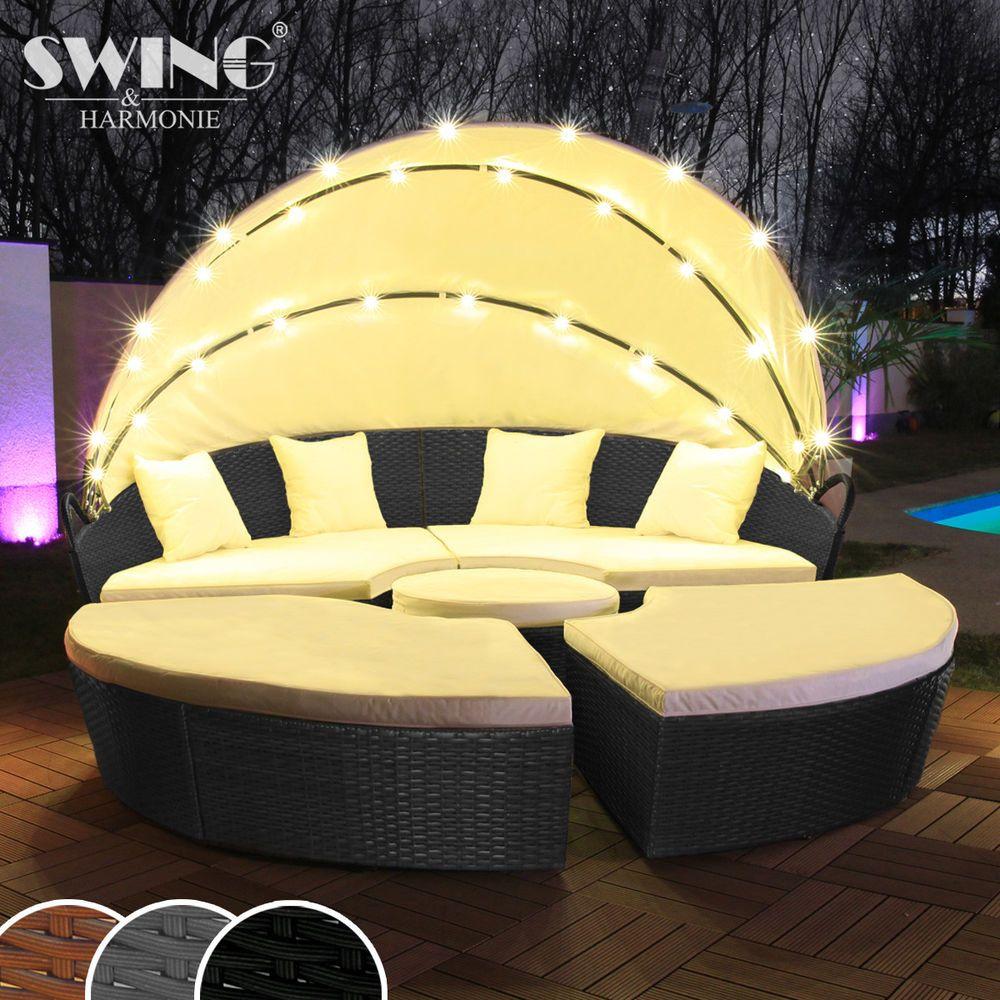 Led Sonneninsel Rattan Lounge Gartenliege Polyrattan Sitzgruppe Liege Insel Ebay Gartenliege Polyrattan Polyrattan Sitzgruppe Gartenliege