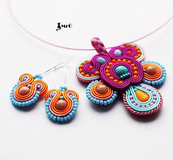 Candy+jewelery+set+soutache++by+MrOsOutache+on+Etsy,+$70.00