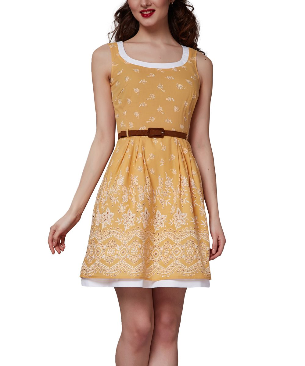 Light yellow floral belted layered aline dress products