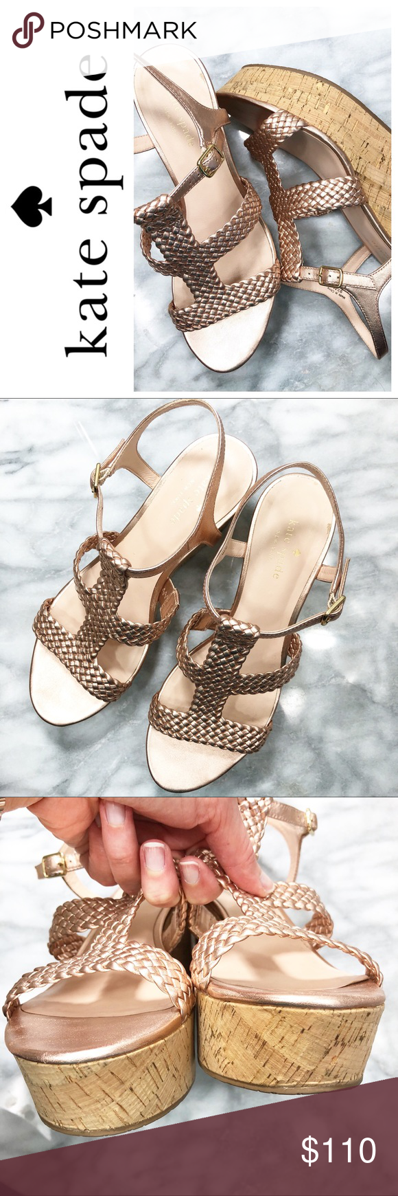 b16823cf179a Kate Spade Tianna Rose Gold platform sandals Excellent pre-owned condition  with box Woven rose gold leather upper Cork sides kate spade Shoes Sandals